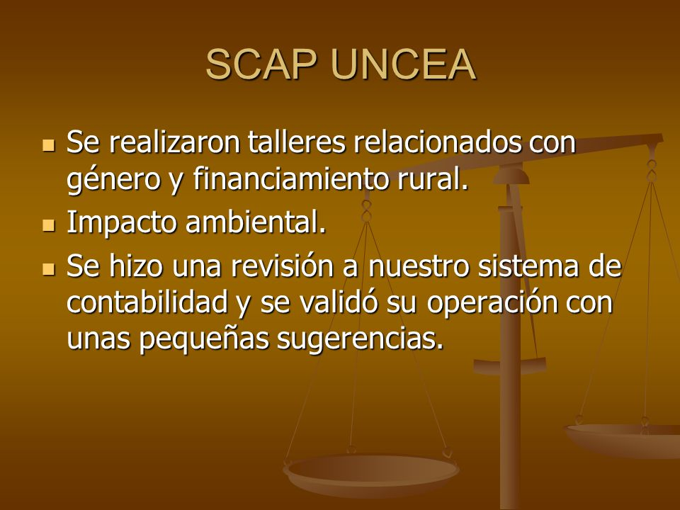 SCAP UNCEA Se realizaron talleres relacionados con género y financiamiento rural. Se realizaron talleres relacionados con género y financiamiento rura