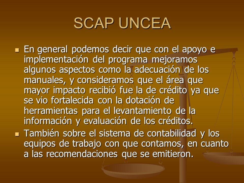 SCAP UNCEA En general podemos decir que con el apoyo e implementación del programa mejoramos algunos aspectos como la adecuación de los manuales, y consideramos que el área que mayor impacto recibió fue la de crédito ya que se vio fortalecida con la dotación de herramientas para el levantamiento de la información y evaluación de los créditos.