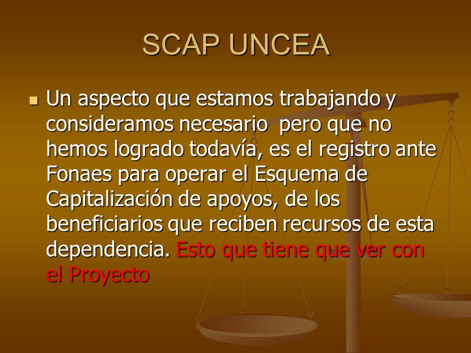 SCAP UNCEA Un aspecto que estamos trabajando y consideramos necesario pero que no hemos logrado todavía, es el registro ante Fonaes para operar el Esquema de Capitalización de apoyos, de los beneficiarios que reciben recursos de esta dependencia.
