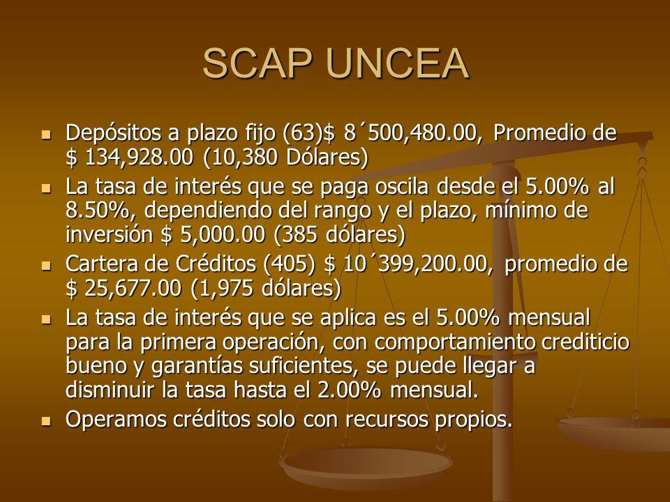 SCAP UNCEA Depósitos a plazo fijo (63)$ 8´500,480.00, Promedio de $ 134,928.00 (10,380 Dólares) Depósitos a plazo fijo (63)$ 8´500,480.00, Promedio de