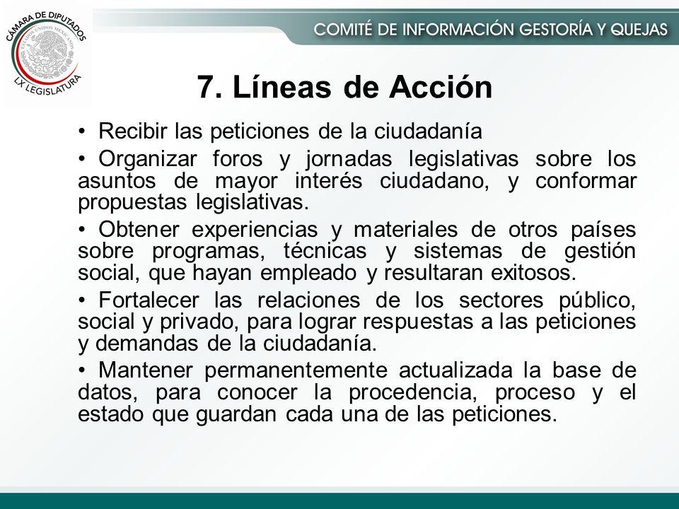 7. Líneas de Acción Recibir las peticiones de la ciudadanía Organizar foros y jornadas legislativas sobre los asuntos de mayor interés ciudadano, y co