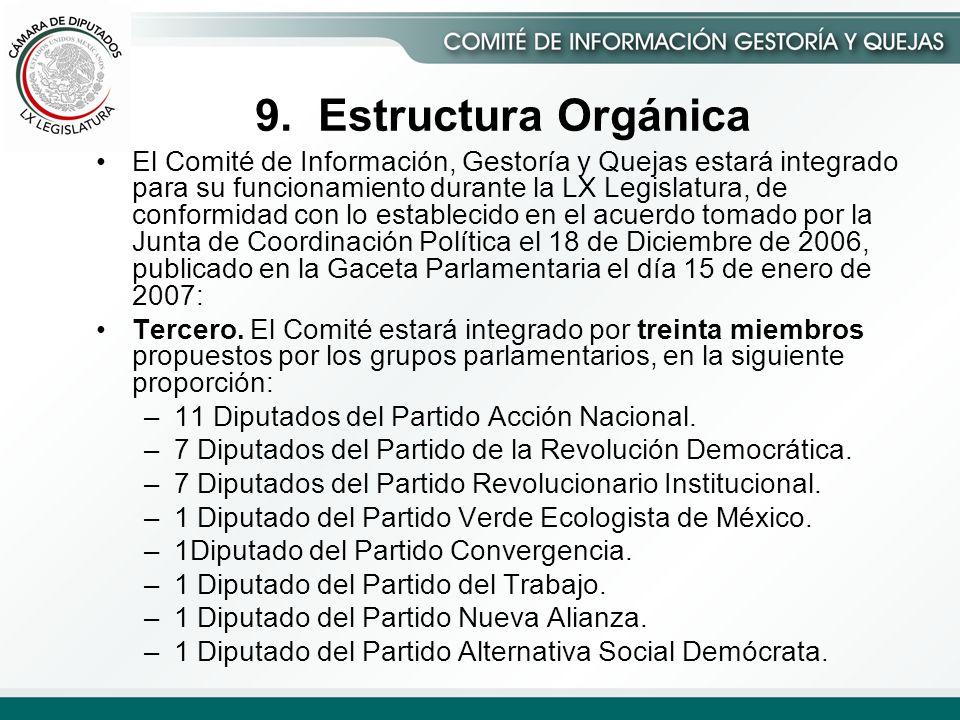 El Comité de Información, Gestoría y Quejas estará integrado para su funcionamiento durante la LX Legislatura, de conformidad con lo establecido en el acuerdo tomado por la Junta de Coordinación Política el 18 de Diciembre de 2006, publicado en la Gaceta Parlamentaria el día 15 de enero de 2007: Tercero.