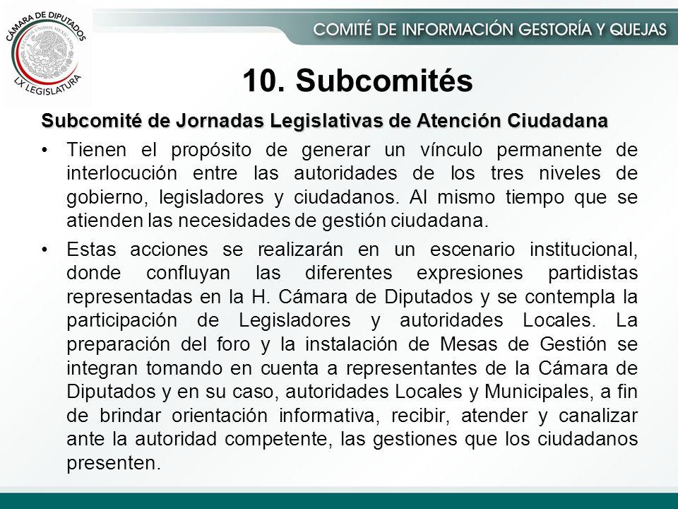 Subcomité de Jornadas Legislativas de Atención Ciudadana Tienen el propósito de generar un vínculo permanente de interlocución entre las autoridades de los tres niveles de gobierno, legisladores y ciudadanos.