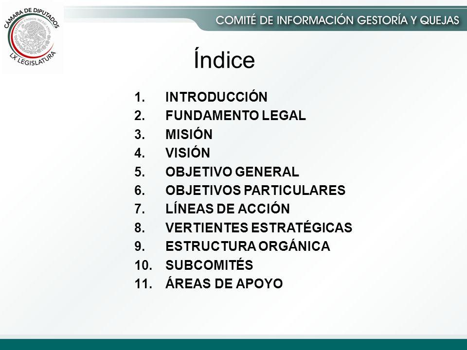 1.INTRODUCCIÓN 2.FUNDAMENTO LEGAL 3.MISIÓN 4.VISIÓN 5.OBJETIVO GENERAL 6.OBJETIVOS PARTICULARES 7.LÍNEAS DE ACCIÓN 8.VERTIENTES ESTRATÉGICAS 9.ESTRUCTURA ORGÁNICA 10.SUBCOMITÉS 11.ÁREAS DE APOYO Índice