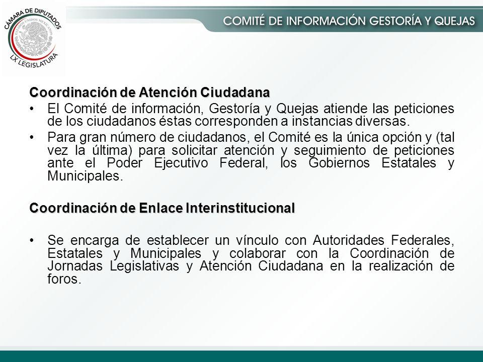Coordinación de Atención Ciudadana El Comité de información, Gestoría y Quejas atiende las peticiones de los ciudadanos éstas corresponden a instancias diversas.