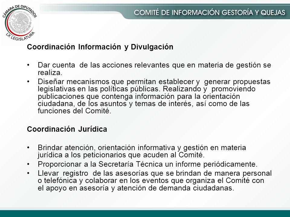 Coordinación Información y Divulgación Dar cuenta de las acciones relevantes que en materia de gestión se realiza.
