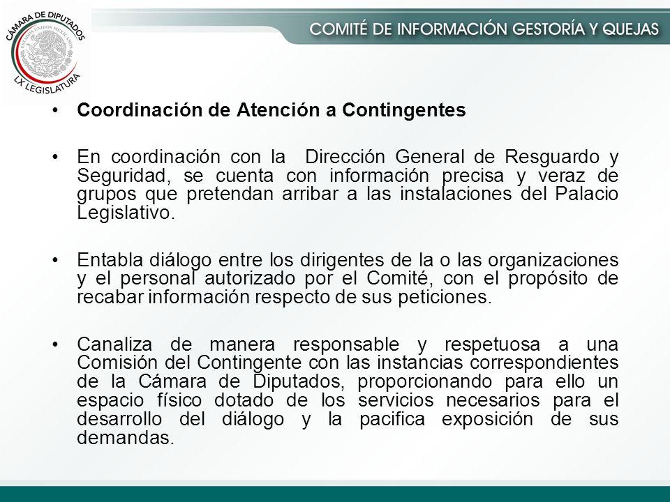 Coordinación de Atención a Contingentes En coordinación con la Dirección General de Resguardo y Seguridad, se cuenta con información precisa y veraz de grupos que pretendan arribar a las instalaciones del Palacio Legislativo.
