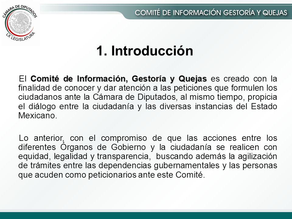 1. Introducción Comité de Información, Gestoría y Quejas El Comité de Información, Gestoría y Quejas es creado con la finalidad de conocer y dar atenc