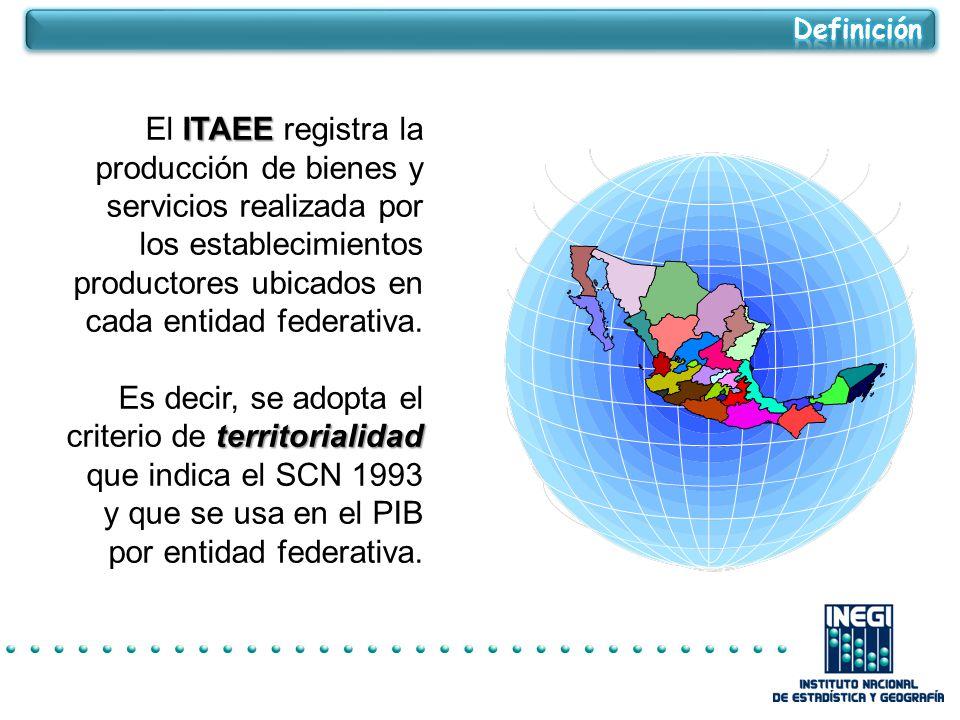 ITAEE El ITAEE registra la producción de bienes y servicios realizada por los establecimientos productores ubicados en cada entidad federativa.