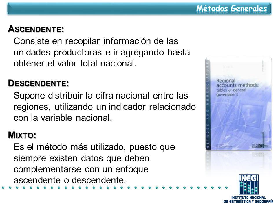 A SCENDENTE : Consiste en recopilar información de las unidades productoras e ir agregando hasta obtener el valor total nacional.