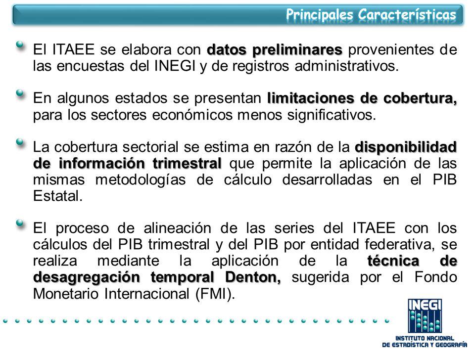 datos preliminares El ITAEE se elabora con datos preliminares provenientes de las encuestas del INEGI y de registros administrativos.