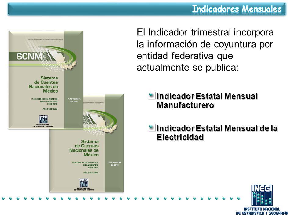 El Indicador trimestral incorpora la información de coyuntura por entidad federativa que actualmente se publica: Indicador Estatal Mensual Manufacturero Indicador Estatal Mensual de la Electricidad