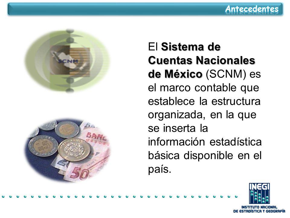 Sistema de Cuentas Nacionales de México El Sistema de Cuentas Nacionales de México (SCNM) es el marco contable que establece la estructura organizada, en la que se inserta la información estadística básica disponible en el país.