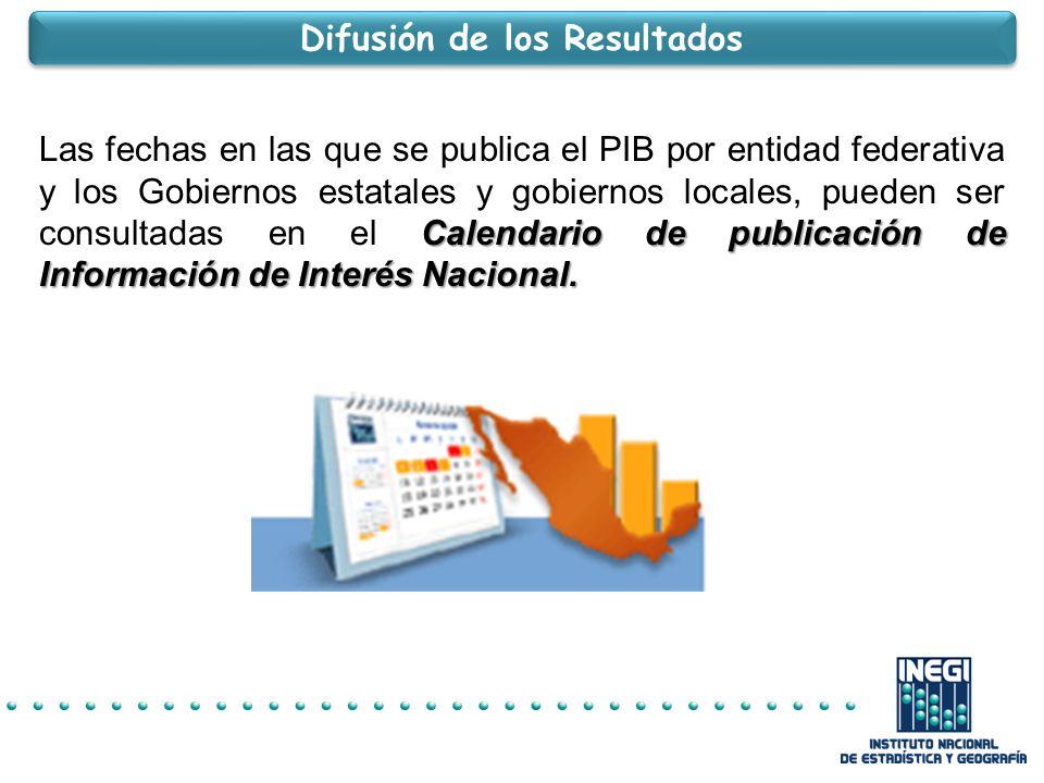 Calendario de publicación de Información de Interés Nacional.