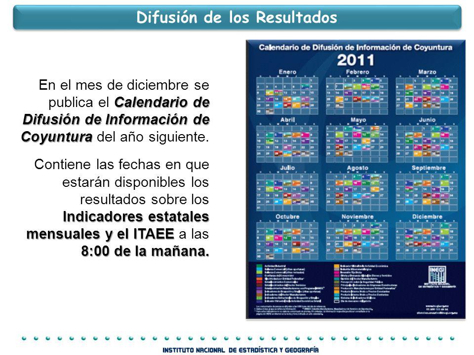 Calendario de Difusión de Información de Coyuntura En el mes de diciembre se publica el Calendario de Difusión de Información de Coyuntura del año siguiente.