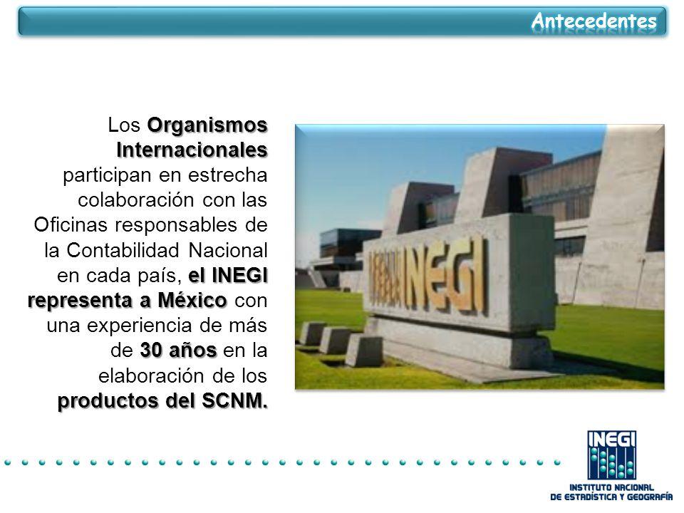Organismos Internacionales el INEGI representa a México 30 años productos del SCNM.