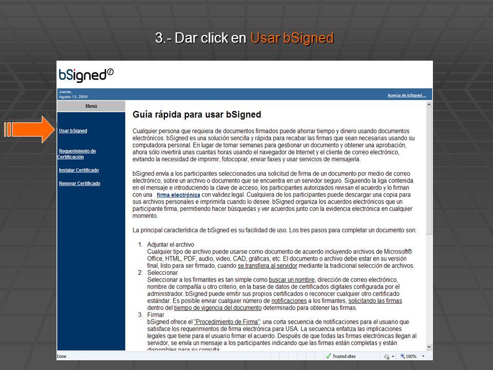 3.- Dar click en Usar bSigned