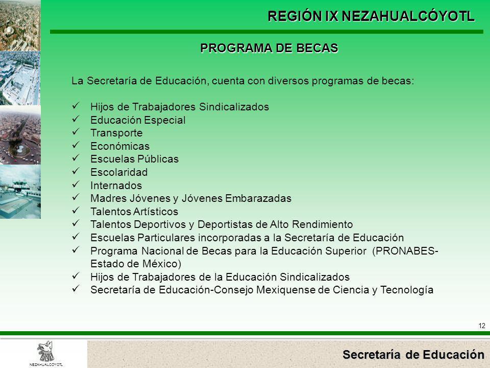Secretaría de Educación REGIÓN IX NEZAHUALCÓYOTL 12 NEZAHUALCÓYOTL PROGRAMA DE BECAS La Secretaría de Educación, cuenta con diversos programas de beca