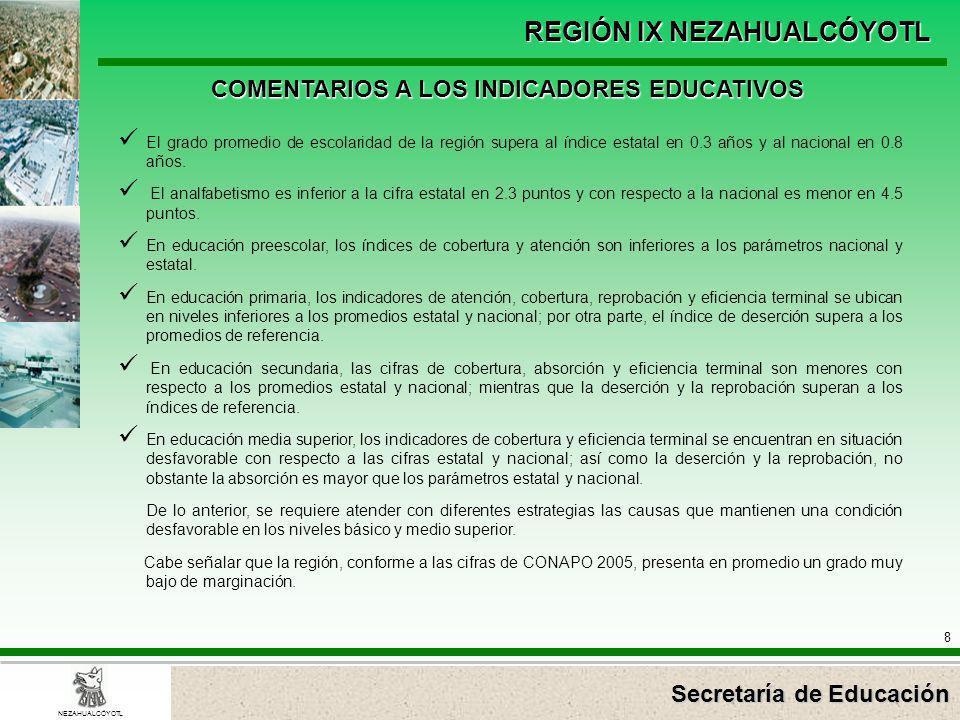 Secretaría de Educación REGIÓN IX NEZAHUALCÓYOTL 8 NEZAHUALCÓYOTL COMENTARIOS A LOS INDICADORES EDUCATIVOS El grado promedio de escolaridad de la regi