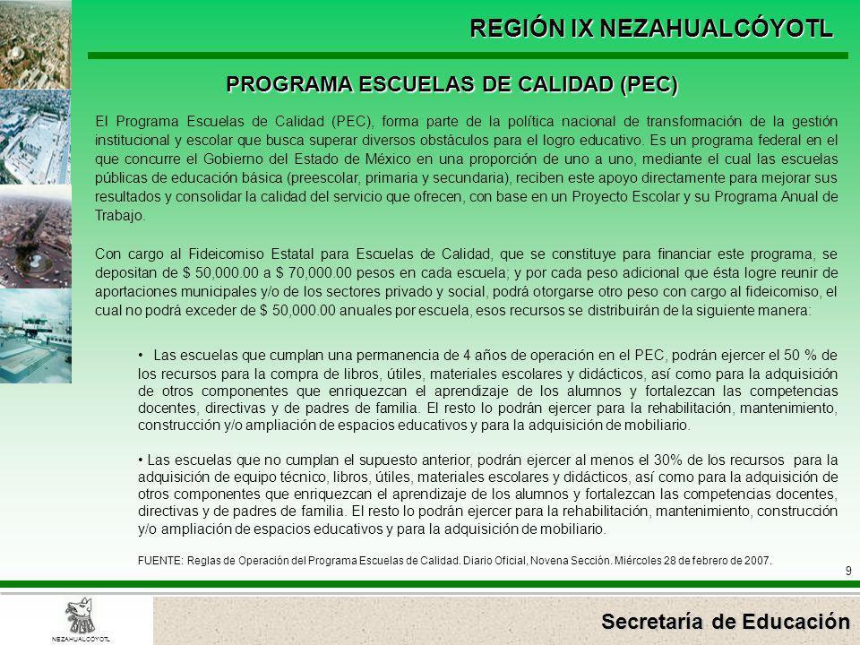 Secretaría de Educación REGIÓN IX NEZAHUALCÓYOTL 9 NEZAHUALCÓYOTL PROGRAMA ESCUELAS DE CALIDAD (PEC) El Programa Escuelas de Calidad (PEC), forma part
