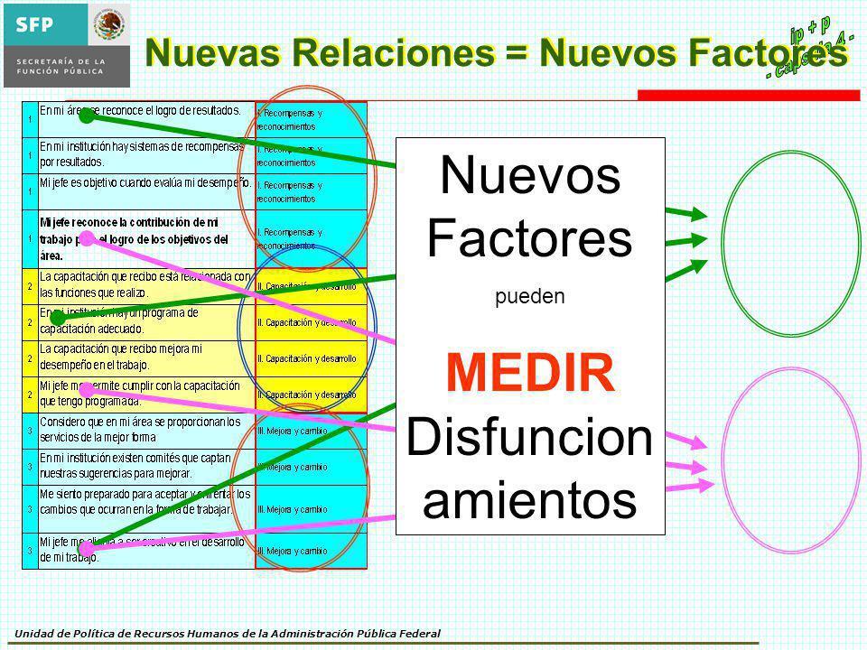 Unidad de Política de Recursos Humanos de la Administración Pública Federal Nuevas Relaciones = Nuevos Factores Nuevos Factores pueden MEDIR Disfuncio