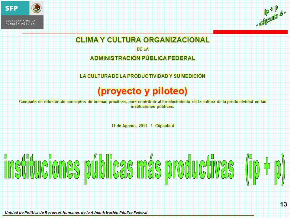 Unidad de Política de Recursos Humanos de la Administración Pública Federal 13 CLIMA Y CULTURA ORGANIZACIONAL DE LA ADMINISTRACIÓN PÚBLICA FEDERAL LA
