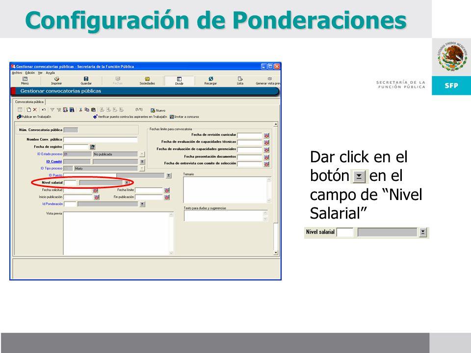 Configuración de Ponderaciones Dar click en el botón en el campo de Nivel Salarial