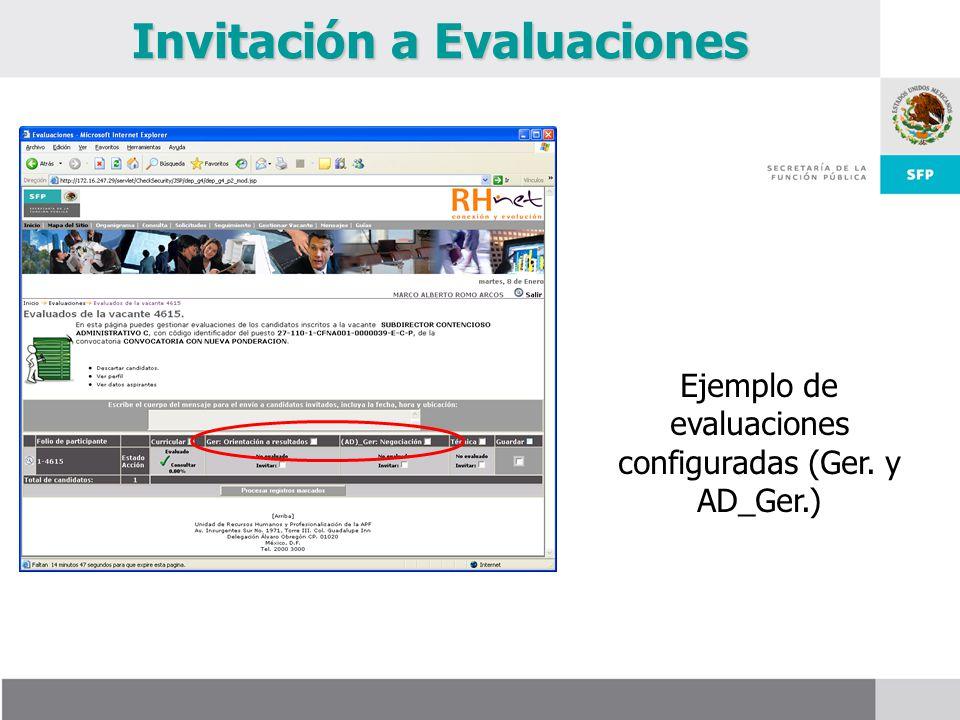 Invitación a Evaluaciones Ejemplo de evaluaciones configuradas (Ger. y AD_Ger.)
