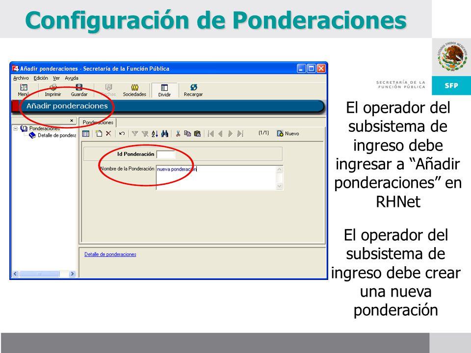 Configuración de Ponderaciones El operador del subsistema de ingreso debe ingresar a Añadir ponderaciones en RHNet El operador del subsistema de ingreso debe crear una nueva ponderación