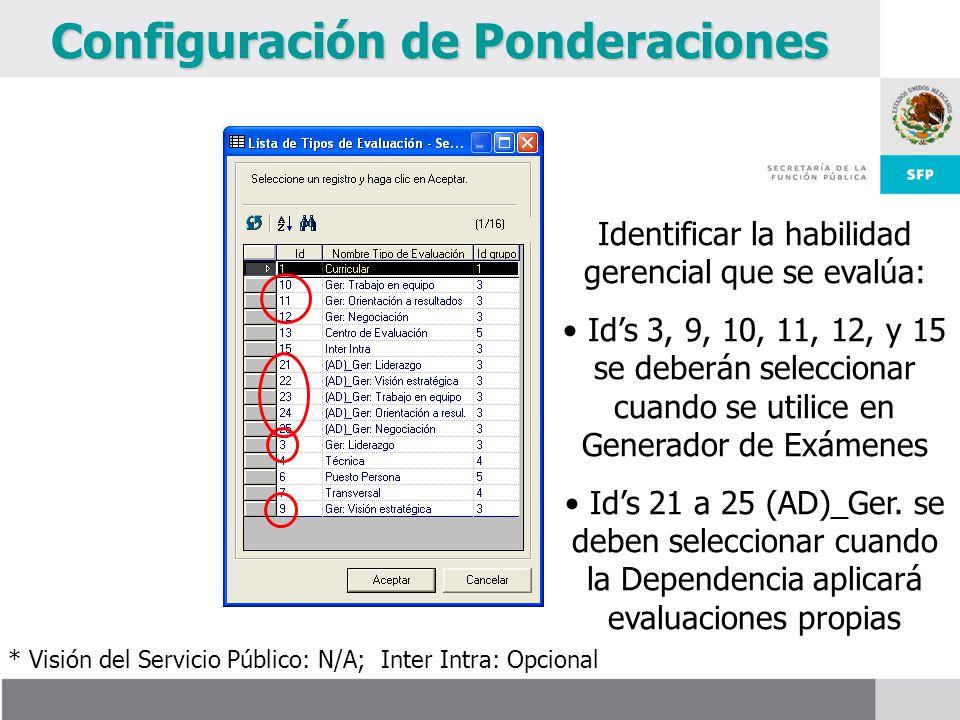 Configuración de Ponderaciones Identificar la habilidad gerencial que se evalúa: Ids 3, 9, 10, 11, 12, y 15 se deberán seleccionar cuando se utilice en Generador de Exámenes Ids 21 a 25 (AD)_Ger.