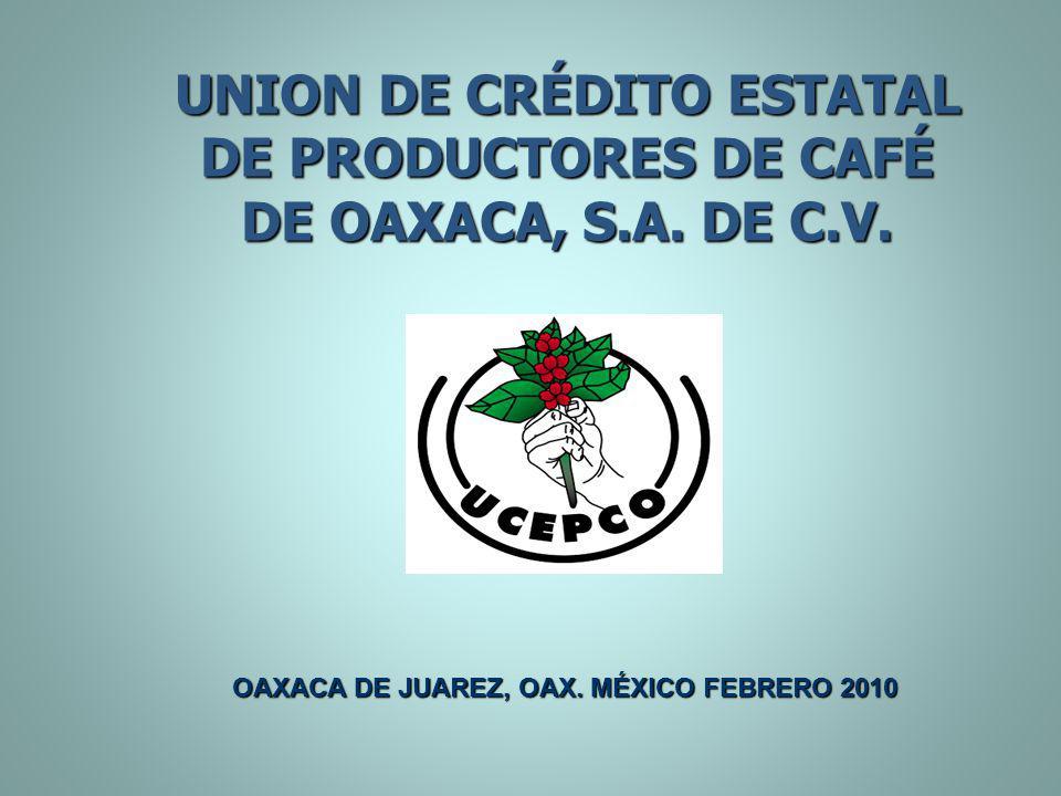 UNION DE CRÉDITO ESTATAL DE PRODUCTORES DE CAFÉ DE OAXACA, S.A. DE C.V. OAXACA DE JUAREZ, OAX. MÉXICO FEBRERO 2010