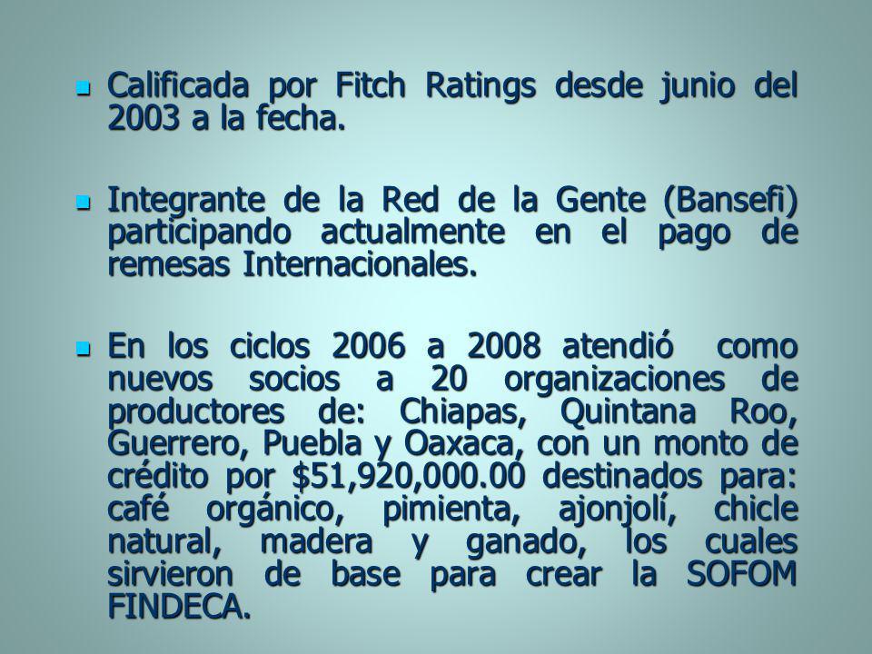 Calificada por Fitch Ratings desde junio del 2003 a la fecha. Calificada por Fitch Ratings desde junio del 2003 a la fecha. Integrante de la Red de la