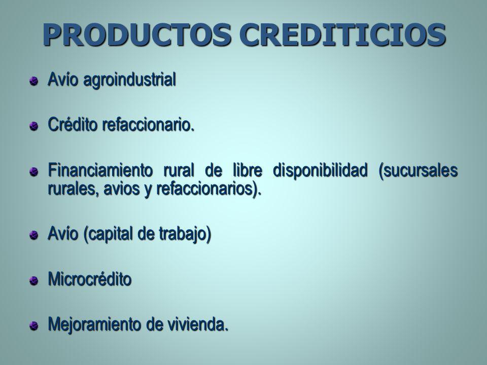 PRODUCTOS CREDITICIOS Avío agroindustrial Crédito refaccionario. Financiamiento rural de libre disponibilidad (sucursales rurales, avios y refaccionar