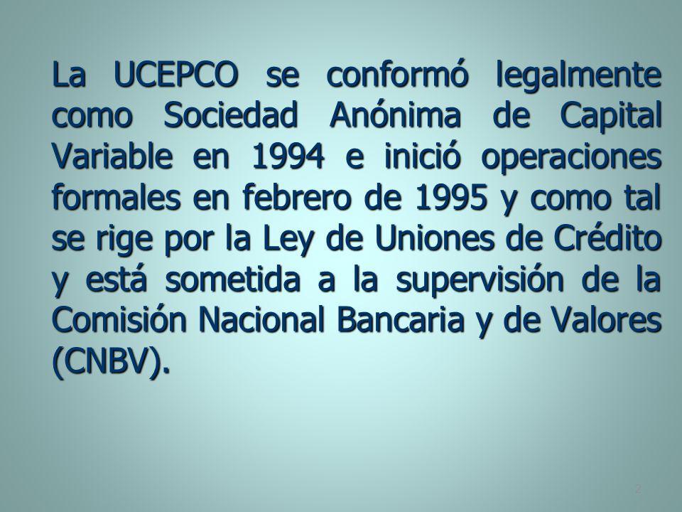La UCEPCO se conformó legalmente como Sociedad Anónima de Capital Variable en 1994 e inició operaciones formales en febrero de 1995 y como tal se rige