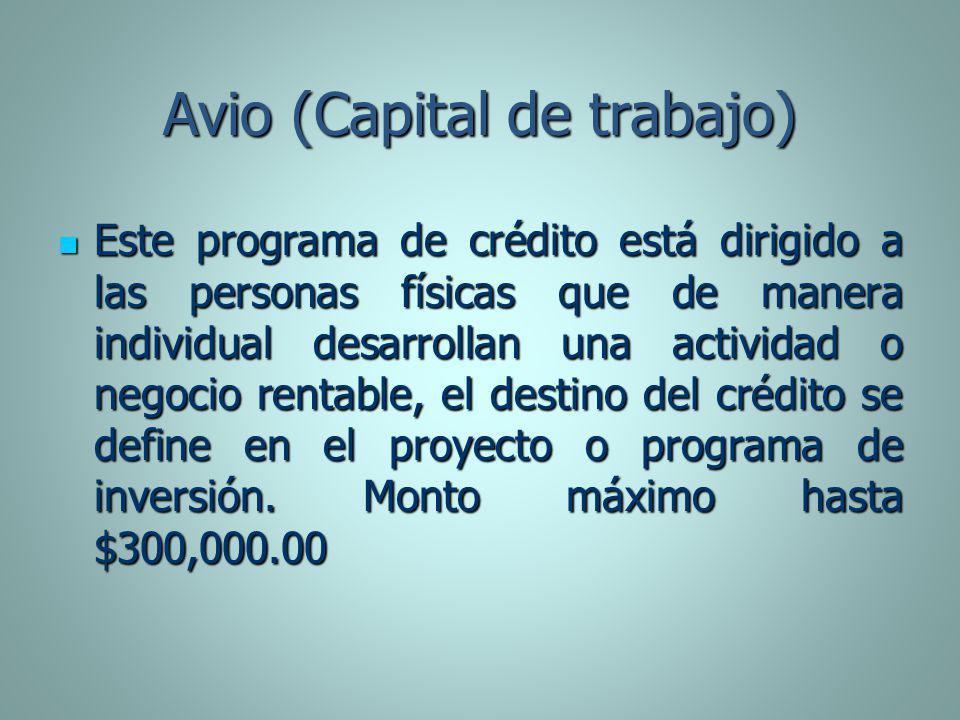 Avio (Capital de trabajo) Este programa de crédito está dirigido a las personas físicas que de manera individual desarrollan una actividad o negocio r