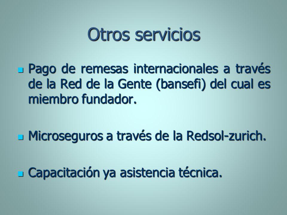 Otros servicios Pago de remesas internacionales a través de la Red de la Gente (bansefi) del cual es miembro fundador. Pago de remesas internacionales