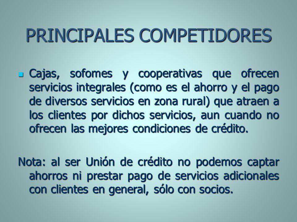 PRINCIPALES COMPETIDORES Cajas, sofomes y cooperativas que ofrecen servicios integrales (como es el ahorro y el pago de diversos servicios en zona rur