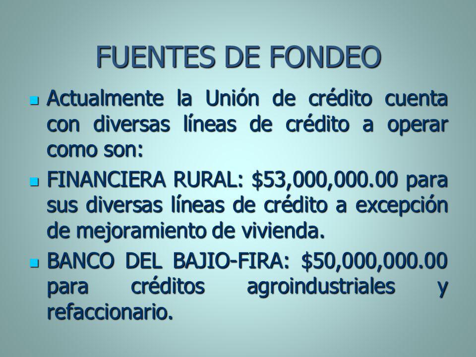 FUENTES DE FONDEO Actualmente la Unión de crédito cuenta con diversas líneas de crédito a operar como son: Actualmente la Unión de crédito cuenta con