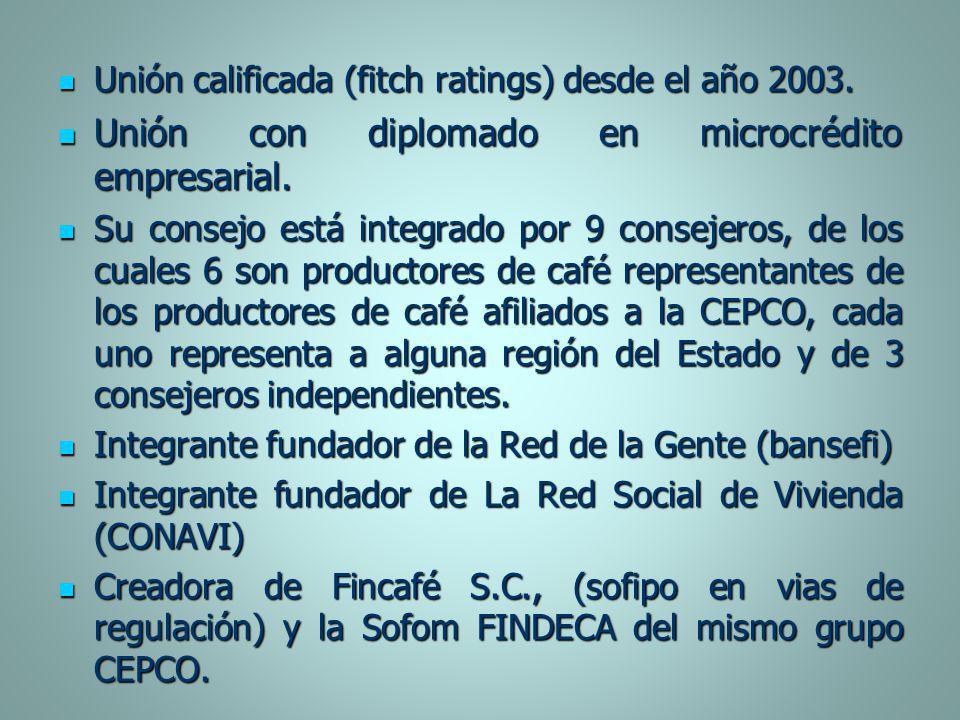 Unión calificada (fitch ratings) desde el año 2003. Unión calificada (fitch ratings) desde el año 2003. Unión con diplomado en microcrédito empresaria