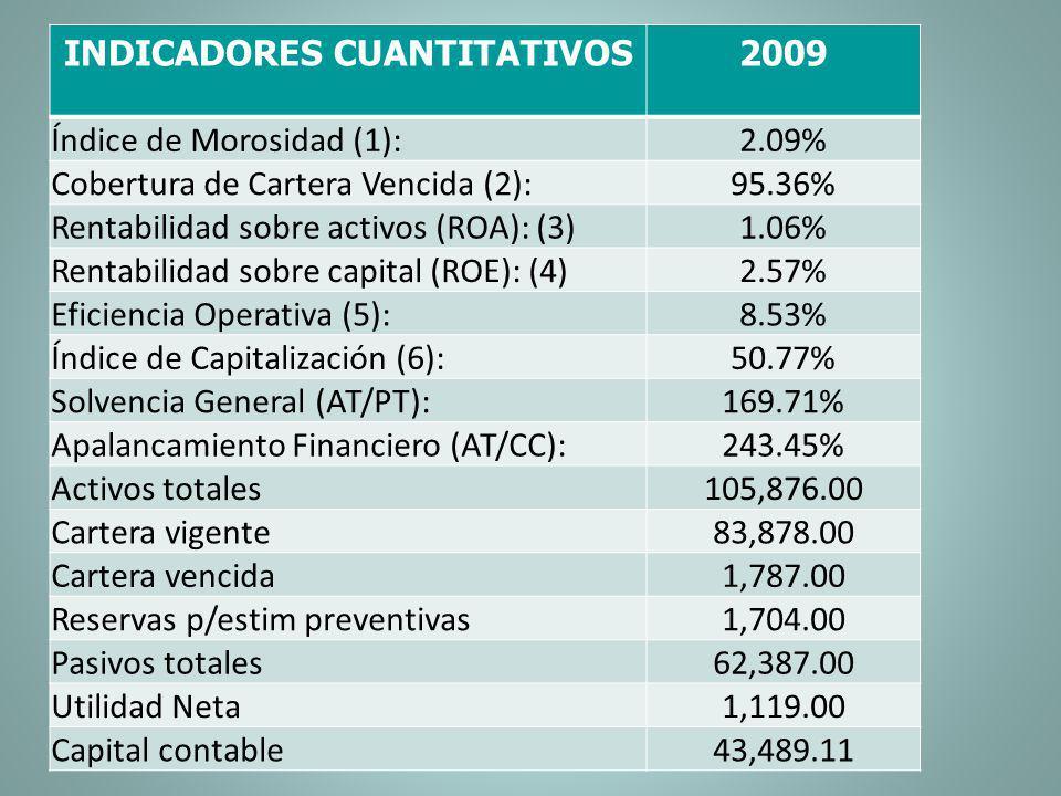 INDICADORES CUANTITATIVOS2009 Índice de Morosidad (1):2.09% Cobertura de Cartera Vencida (2):95.36% Rentabilidad sobre activos (ROA): (3)1.06% Rentabi