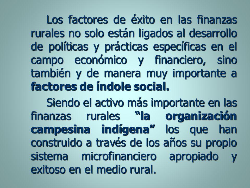 Los factores de éxito en las finanzas rurales no solo están ligados al desarrollo de políticas y prácticas específicas en el campo económico y financi