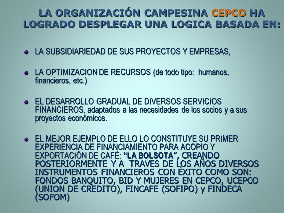 LA ORGANIZACIÓN CAMPESINA CEPCO HA LOGRADO DESPLEGAR UNA LOGICA BASADA EN: LA SUBSIDIARIEDAD DE SUS PROYECTOS Y EMPRESAS, LA OPTIMIZACION DE RECURSOS
