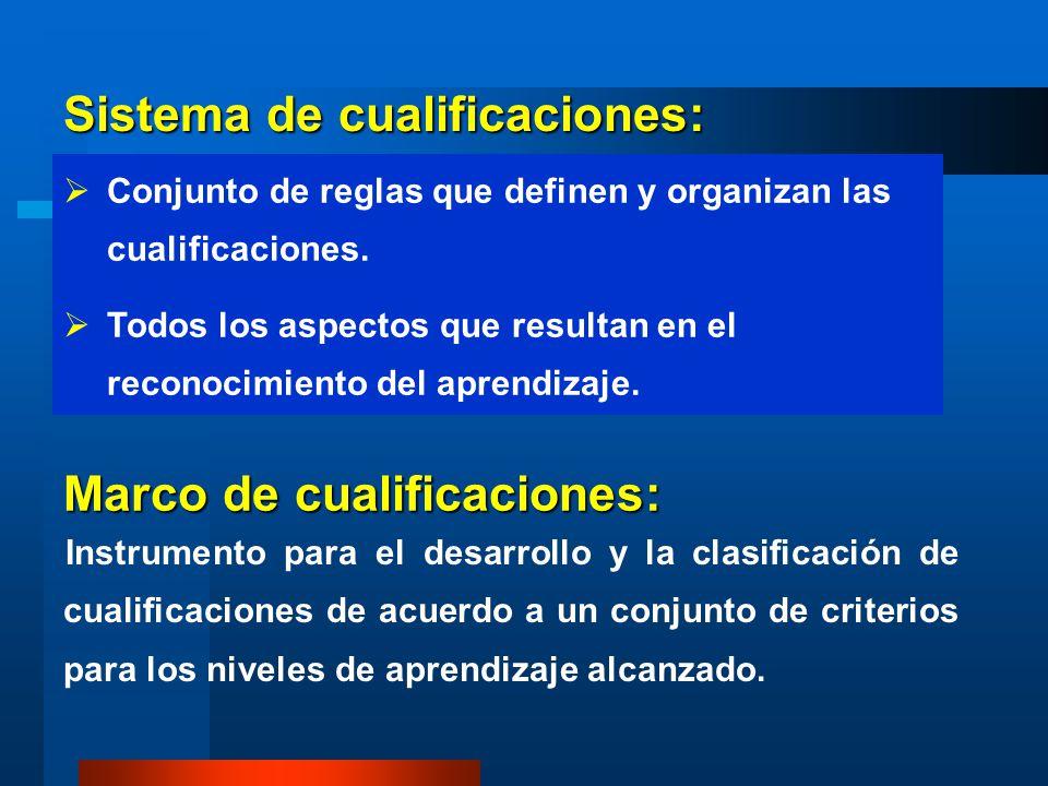 Sistema de cualificaciones: Conjunto de reglas que definen y organizan las cualificaciones. Todos los aspectos que resultan en el reconocimiento del a