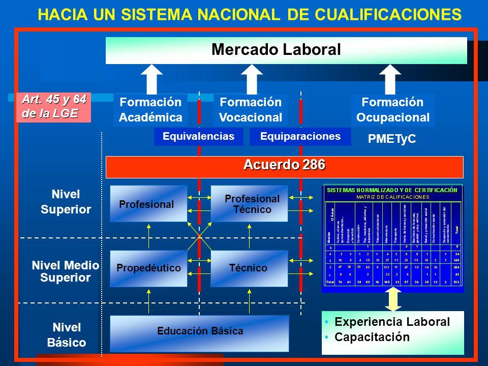 Educación Básica Nivel Básico Nivel Medio Superior Nivel Superior Formación Académica Experiencia Laboral Capacitación Formación Ocupacional Equivalen