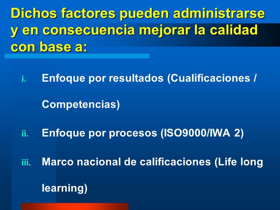 Dichos factores pueden administrarse y en consecuencia mejorar la calidad con base a: i. Enfoque por resultados (Cualificaciones / Competencias) ii. E