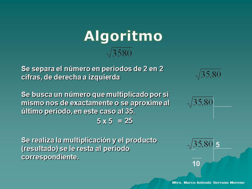 Se separa el número en periodos de 2 en 2 cifras, de derecha a izquierda Se busca un número que multiplicado por si mismo nos de exactamente o se apro