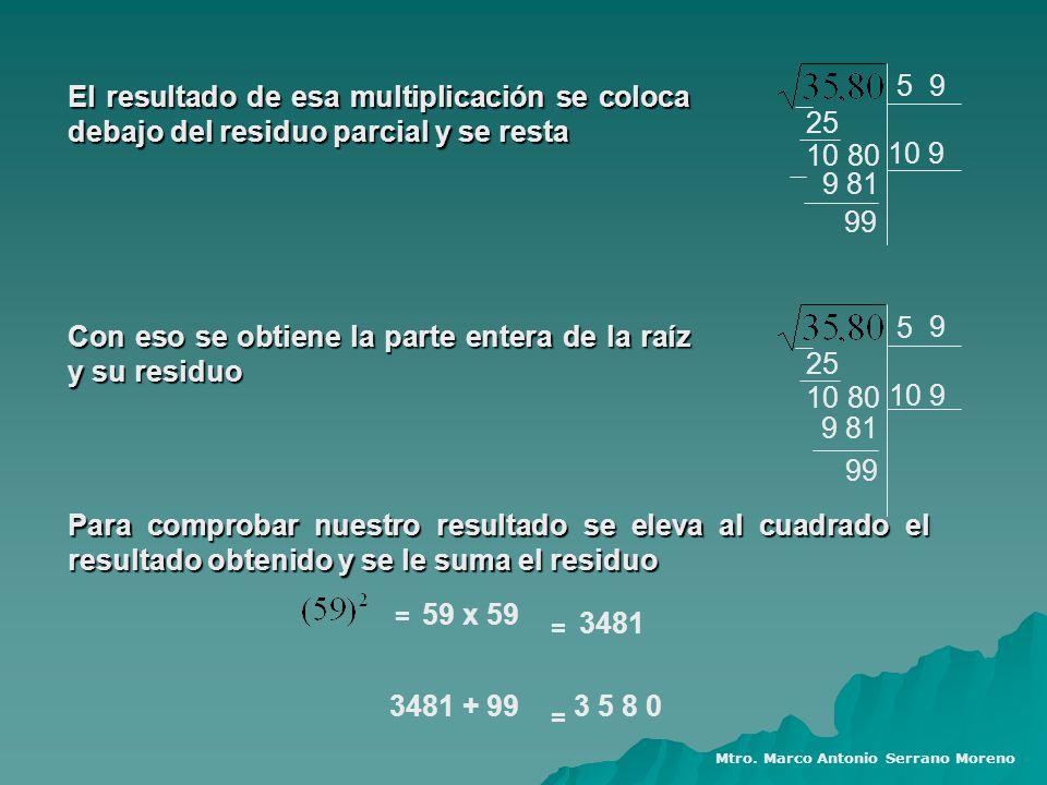 5 25 1080 10 9 9 El resultado de esa multiplicación se coloca debajo del residuo parcial y se resta 5 25 1080 10 9 9 Con eso se obtiene la parte enter