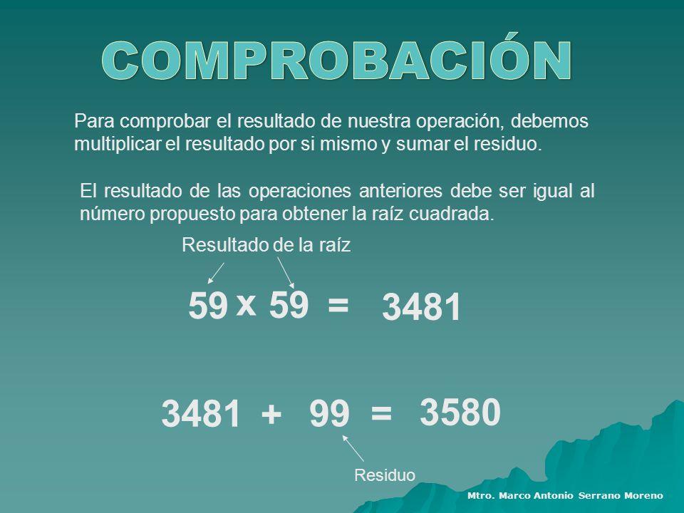 Para comprobar el resultado de nuestra operación, debemos multiplicar el resultado por si mismo y sumar el residuo. El resultado de las operaciones an