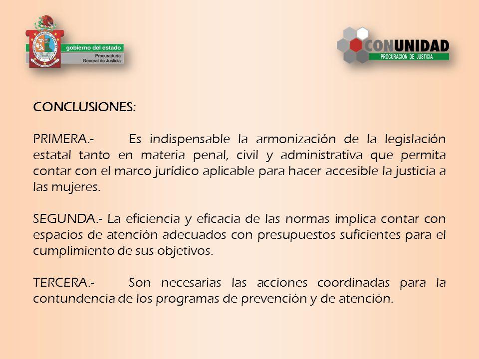 CONCLUSIONES: PRIMERA.-Es indispensable la armonización de la legislación estatal tanto en materia penal, civil y administrativa que permita contar con el marco jurídico aplicable para hacer accesible la justicia a las mujeres.