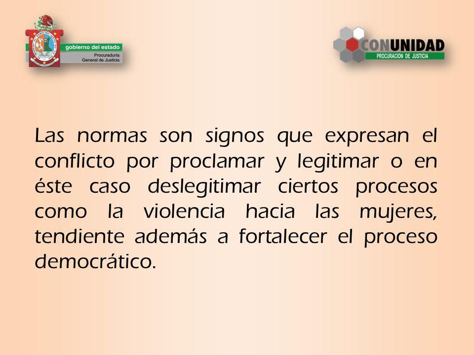 Las normas son signos que expresan el conflicto por proclamar y legitimar o en éste caso deslegitimar ciertos procesos como la violencia hacia las mujeres, tendiente además a fortalecer el proceso democrático.